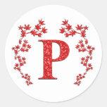 Hojas del rojo de la letra P del monograma Etiquetas
