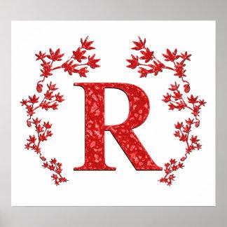 Hojas del rojo de la letra R del monograma Posters