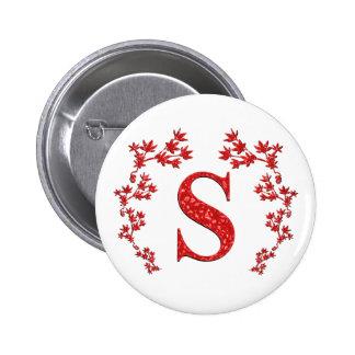 Hojas del rojo de la letra S del monograma Pins