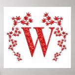 Hojas del rojo de la letra W del monograma Impresiones