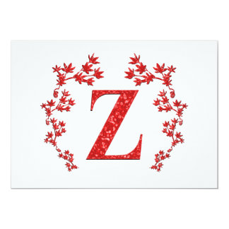Hojas del rojo de la letra Z del monograma Invitaciones Personalizada