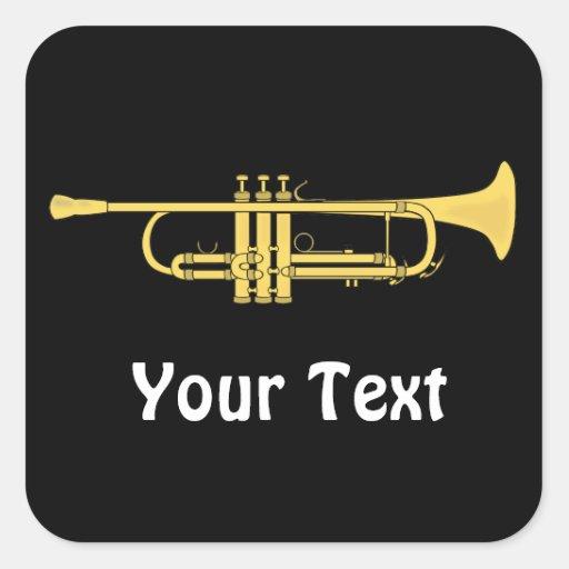 Hojas del tema de la música de la trompeta de oro pegatina cuadradas personalizada