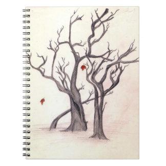 Hojas del último del cuaderno del otoño