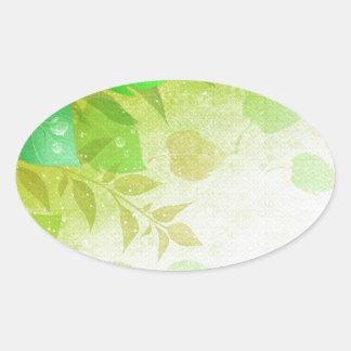 hojas del verde calcomania de óval