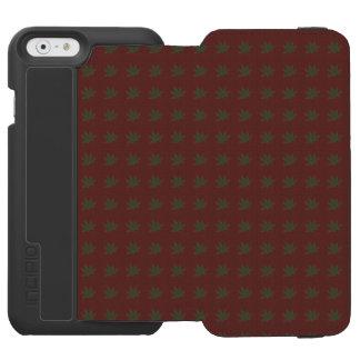 Hojas del verde caqui en el vintage rojo oscuro funda billetera para iPhone 6 watson