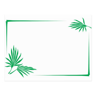 Hojas del verde con la frontera tarjetas postales