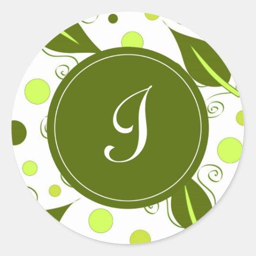 """Hojas del verde con """"mí"""" monograma pegatina redonda"""