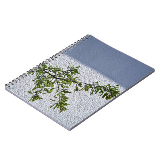 Hojas del verde contra un muro de cemento blanco libros de apuntes