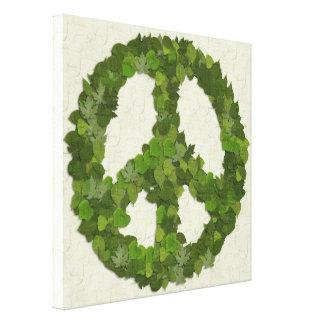 Hojas del verde de la paz impresiones en lona estiradas