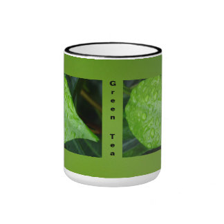 Hojas del verde en verde taza a dos colores