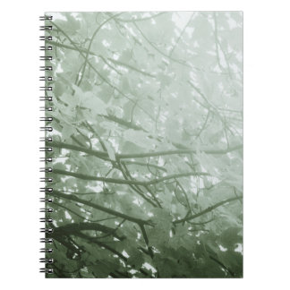 Hojas del verde libro de apuntes