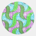 Hojas del verde pegatina redonda