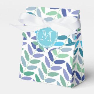 Hojas elegantes del verde azul del estampado de caja para regalo de boda