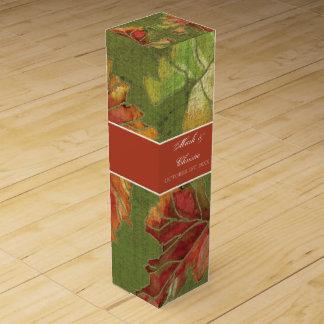 Hojas elegantes personalizadas de la uva del otoño caja de regalo para vino