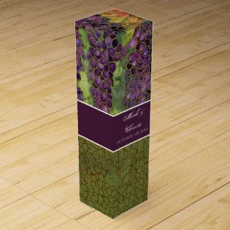 Hojas elegantes personalizadas de la uva del otoño caja de vino