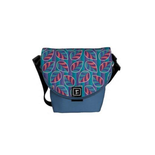 Hojas en bolsa de mensajero azul de las rayas la m bolsas de mensajeria