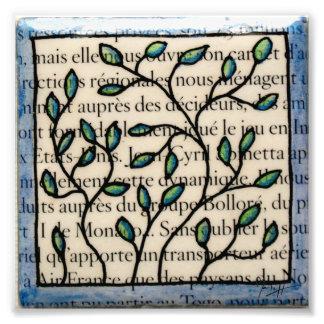 Hojas en la teja francesa del texto cojinete