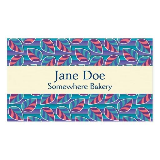 Hojas en tarjeta de visita azul de las rayas