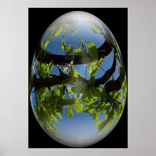 hojas felices de los jóvenes del huevo de Pascua Poster