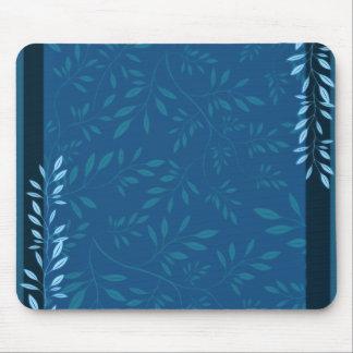 Hojas florales azules abstractas alfombrillas de ratones