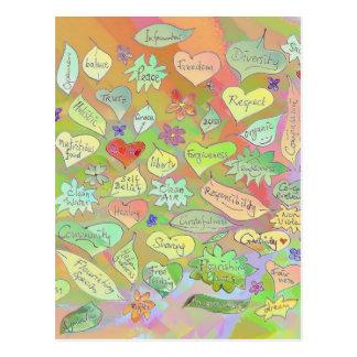 Hojas, flores, corazones/postal consciente de las tarjeta postal