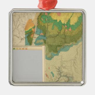 Hojas geológicas del mapa adorno navideño cuadrado de metal
