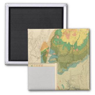Hojas geológicas del mapa imán cuadrado