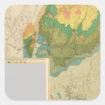 Hojas geológicas del mapa pegatina cuadrada