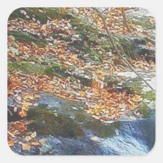 hojas, hierba y corriente pegatina cuadrada
