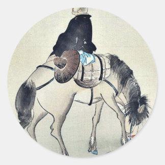 Hojas ilustradas modernas con el sobre ilustrado pegatina redonda