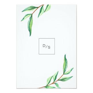 """Hojas minimalistas del verde en el boda blanco invitación 5"""" x 7"""""""