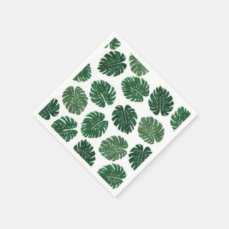 Hojas pintadas a mano tropicales de la planta del servilleta desechable