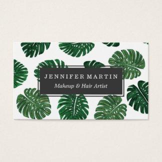 Hojas pintadas a mano tropicales de la planta del tarjetas de visita