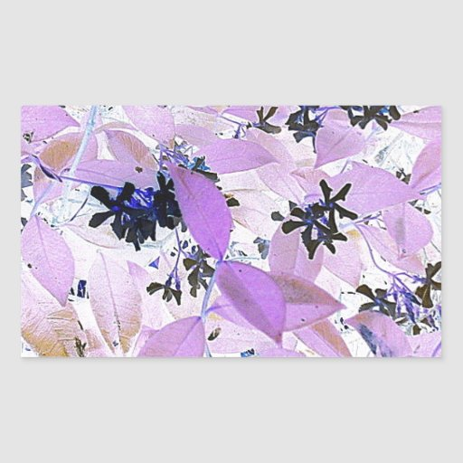 Hojas preciosas de la lila pegatina rectangular