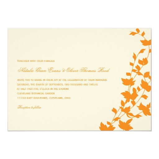 Hojas preciosas que casan la invitación - naranja