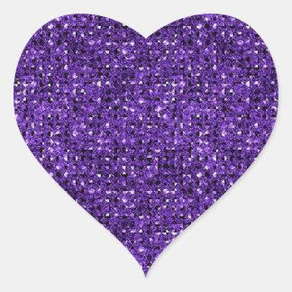 Hojas púrpuras del pegatina del corazón del efecto