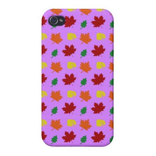 hojas púrpuras en colores pastel de la caída iPhone 4 funda