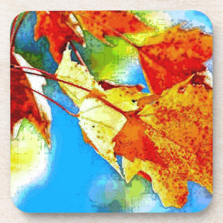 Hojas que caen del otoño posavaso