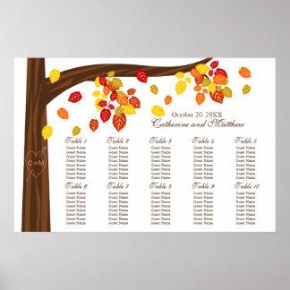 Hojas que caen del otoño que casan la carta del as posters