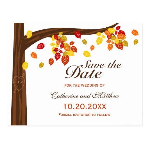Hojas que caen del otoño que casan reserva la fech postal