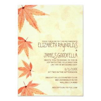 Hojas que caen que casan invitaciones comunicados personales