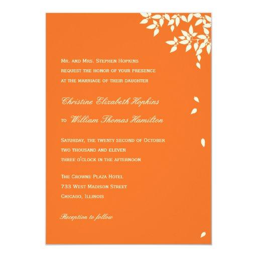 Hojas que caen que casan la invitación (naranja)