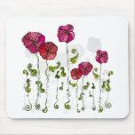 Hojas rizadas de las flores rojas hermosas alfombrillas de raton