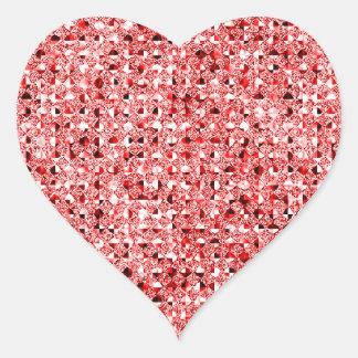 Hojas rojas del pegatina del corazón del efecto de