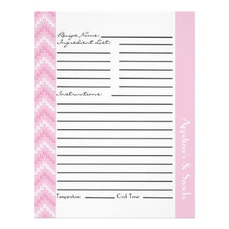"""Hojas rosadas de la receta de los galones del zigz folleto 8.5"""" x 11"""""""