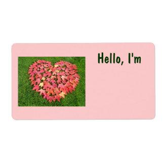 Hojas rosadas rojas del corazón de las etiquetas c etiquetas de envío