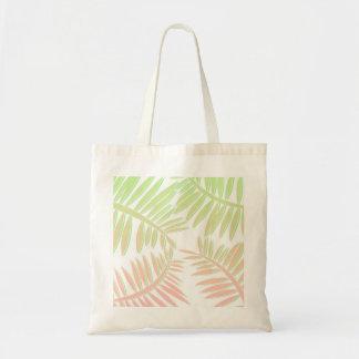 Hojas rosadas y verdes de la palmera de la bolsa tela barata