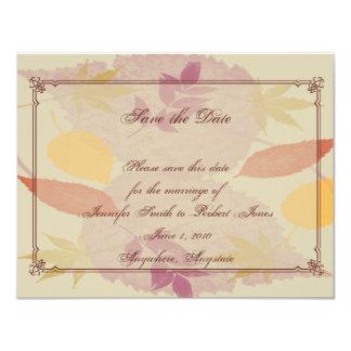 Hojas rústicas de la caída que casan reserva la invitación personalizada