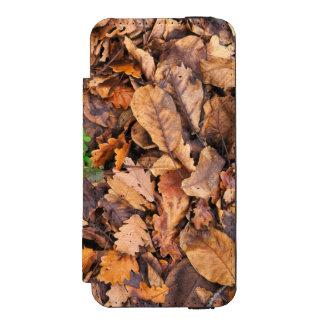Hojas secas del otoño y tréboles verdes funda billetera para iPhone 5 watson