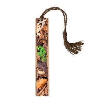 Hojas secas del otoño y tréboles verdes marcapáginas de arce